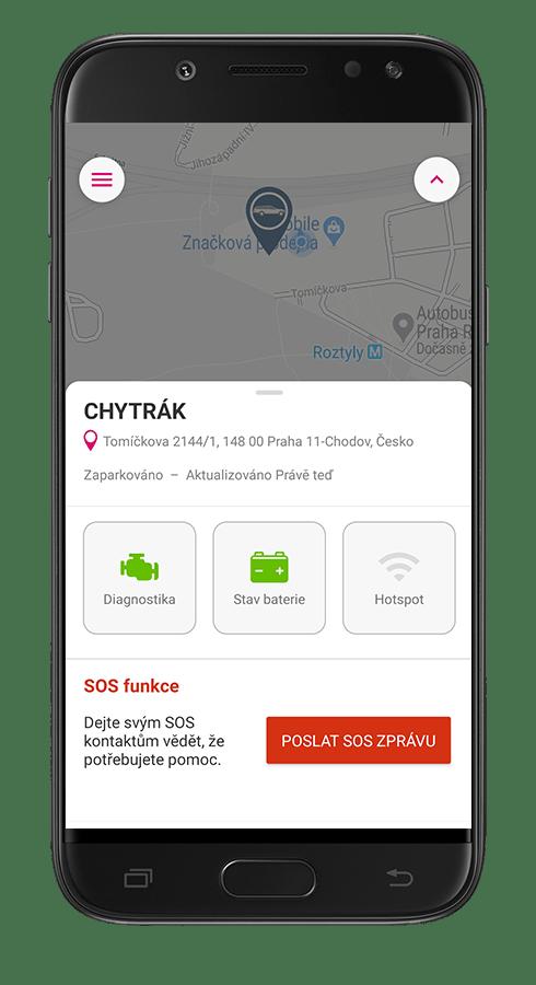 Náhled aplikace Chytré auto - zaparkované auto