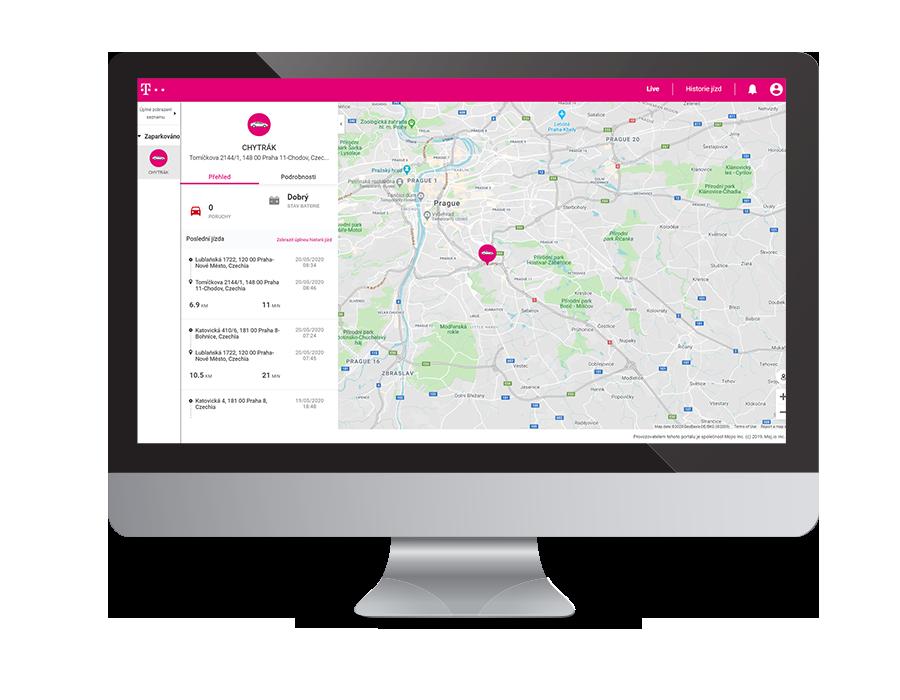 Náhled aplikace Chytré auto - webové rozhraní